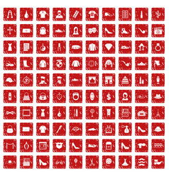 100 stylist icons set grunge red vector