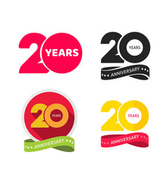 20 years anniversary logo icon or 20th year vector