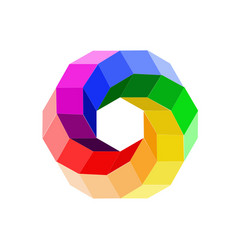 3d color wheel forming a hexagon vector