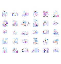a large set business scenes characters in vector image