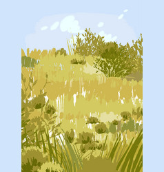 Abstract graphic steppe view in calm colors vector