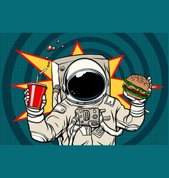Astronaut with a burger and drink vector