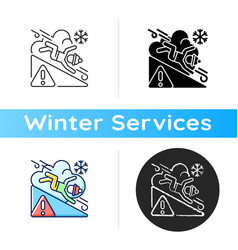 Avalanche warning sign icon vector