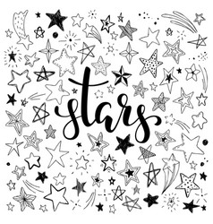 big set hand drawn doodle stars black and white vector image