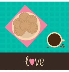 Biscuit cookie cracker on plate and cup coffee vector