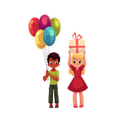 Black boy with balloons and blond girl holding vector
