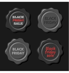 black friday set black wax stamps vector image