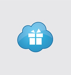 Blue cloud gift icon vector