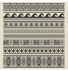 Border decoration set Greek ethnic patterns vector image
