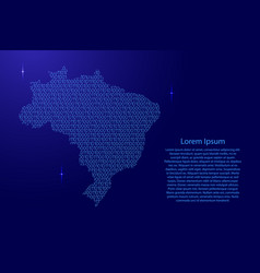 Brazil map abstract schematic from blue ones and vector