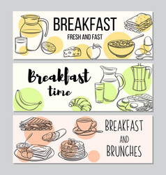breakfast template banner vector image