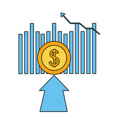 business financial arrow coin money vector image