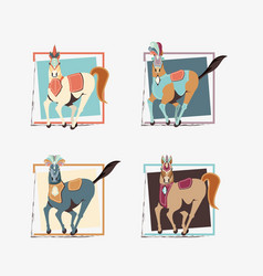 carnival horses vintage icon vector image