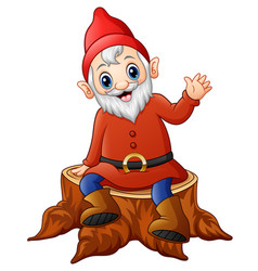 cartoon dwarf sitting on tree stump vector image