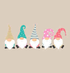 cartoon gnomes icon set cute and funny vector image