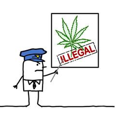 Cartoon policeman showing a cannabis leaf vector