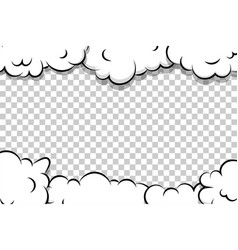 cartoon puff cloud template on transparent vector image