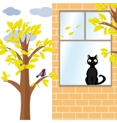 Cat and bird in autumn vector