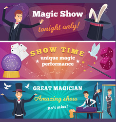 circus party banners magic show with wizard vector image