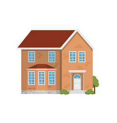 classic two-storey red brick house isolated on vector image