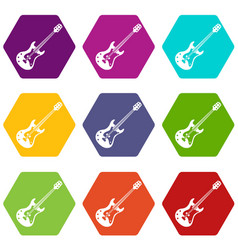 Classical electric guitar icon set color vector