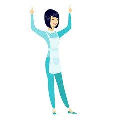 Cleaner standing with raised arms up vector