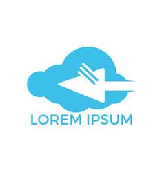 cloud and cursor online logo design vector image