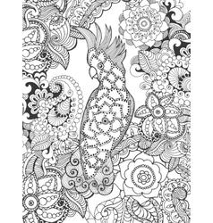 Cockatoo in fantasy flowers vector