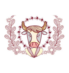 Cow with leaves vector