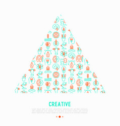 Creative concept in triangle with thin line icons vector