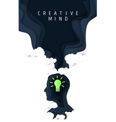 creative mind poster paper cut vector image