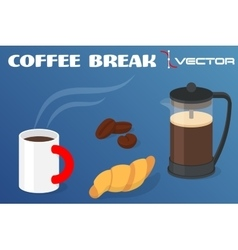 Cup of coffee with croissant and pot vector