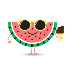 Cute watermelon with chocolate ice cream character vector