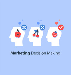 Decision making psychology choice focus group vector