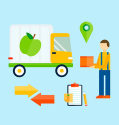 delivery transport cargo truck and shipping icons vector image