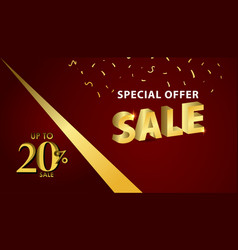 Discount up to 20 special offer gold banner vector