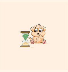 Dog cub sticker emoticon sits at hourglass vector