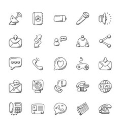 Doodle icons set of communication vector