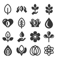 eco organic icons set on white background vector image
