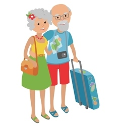 Elderly man and woman grandparents with suitcase vector image