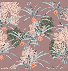 Fern tropical leaves seamless pattern vector