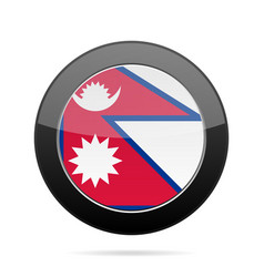 flag of nepal shiny black round button vector image