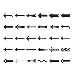 Flat black arrows icon set vector