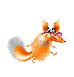 Fluffy cute fox in glasses cartoon on light vector