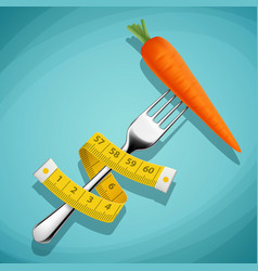 Fork with a carrot and a measuring tape healthy vector