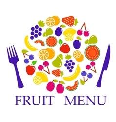 Fruit set for table menu vector