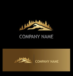 Gold pine tree mountain logo vector