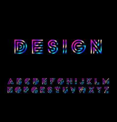 gradient striped font - retro fashion style 80 vector image