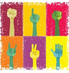 grunge pop art hands vector image