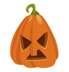 halloween orange pumpkin icon spooky holiday face vector image